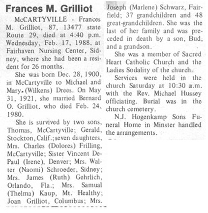 Funeral Card Friday: Frances Drees Grilliot - The Spiraling Chains